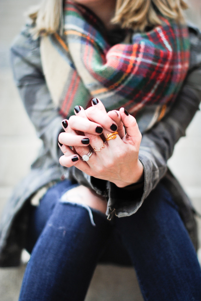 Why You Should Wear Black Nail Polish (black nails, gold rings, zara plaid blanket scarf)
