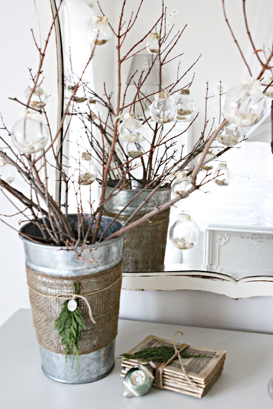 Branches with Ornaments in a Rustic Tin Burlap Bucket for the Holidays