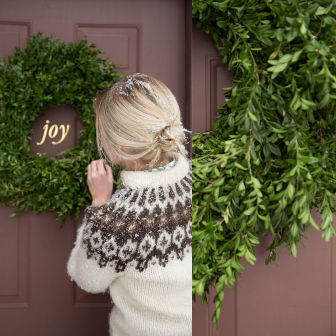 Joy Door Decal and Natural Wreath