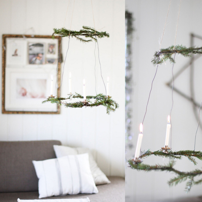 DIY Natural Christmas Wreath Chandelier for the Holidays