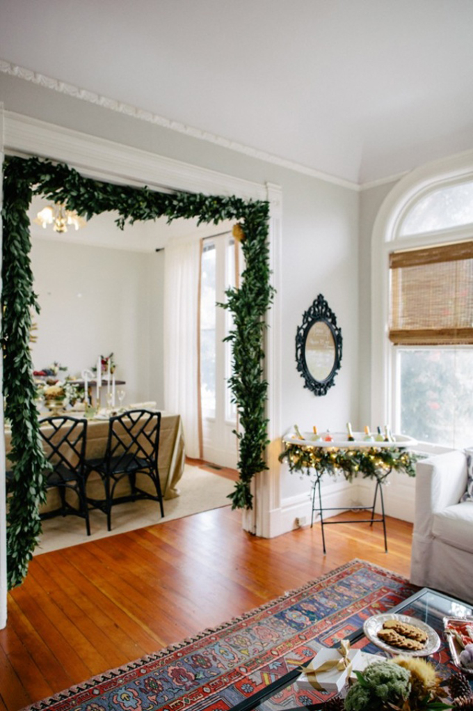 Christmas Garland on a Doorway