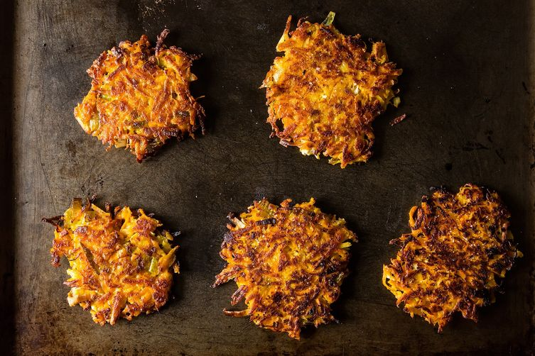 Planning the Menu - 22 Amazing Hannukah Recipes: Sweet Potato Parsnip Latkes with Feta and Leeks