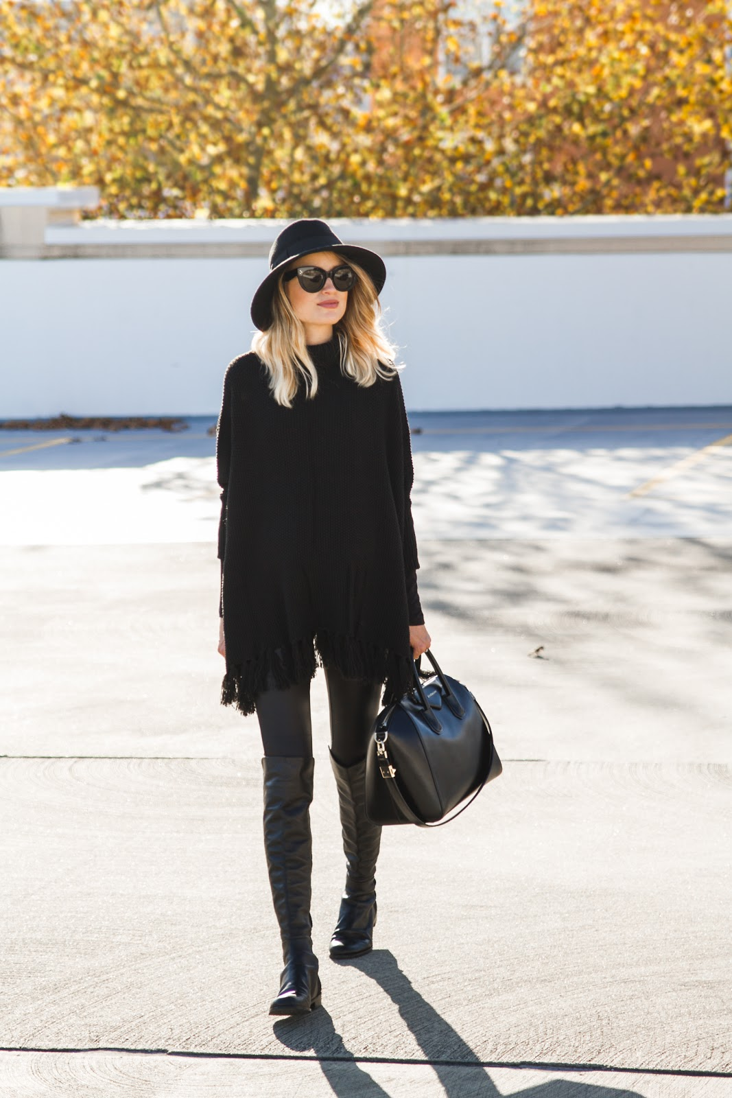 Textured Fringe All-Black Sweater and Leggings and Over-the-knee boots and hat