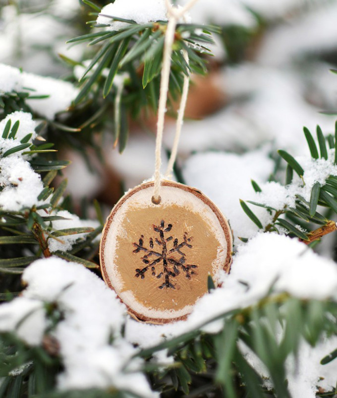Wood-Burned Snowflake Christmas Ornament