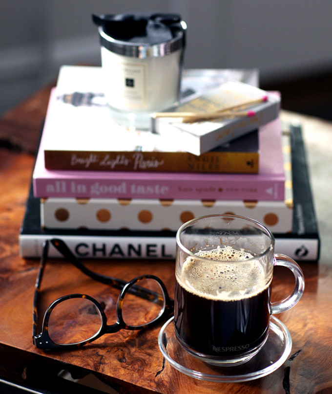 coffee glasses books - weekend morning