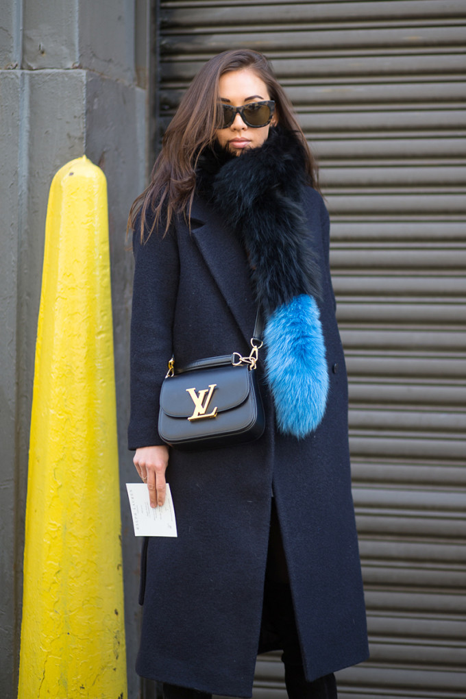 NYFW Street Style Winter All-Black Coat and Black and Blue Fur Scarf