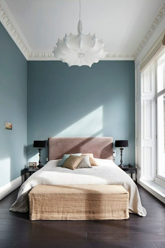 How to Add Pink to Your Home And Still Keep Your Guy Happy: Blush Pink Bed Headboard and blue walls in a bedroom