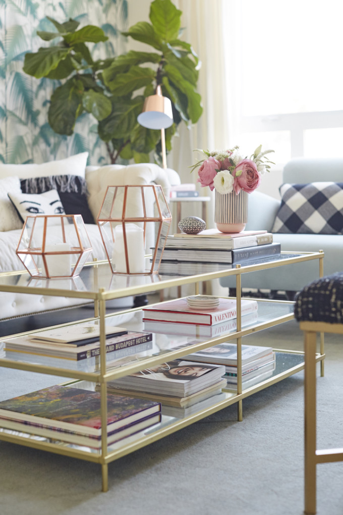 How to Add Pink to Your Home And Still Keep Your Guy Happy: Rose Gold, Pink and Green Living Room