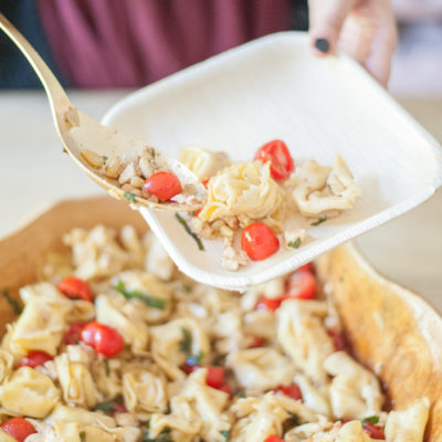 Caprese Tortellini Salad with Toasted Pinenuts, Fresh Mozzarella & Tomatoes