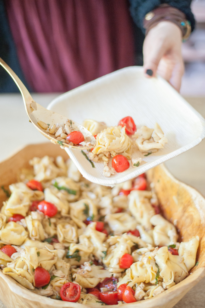 21 Favorite Brunch Recipes (Perfect for Easter!): Caprese Tortellini Salad with Toasted Pinenuts, Fresh Mozzarella & Grape Tomatoes Recipe