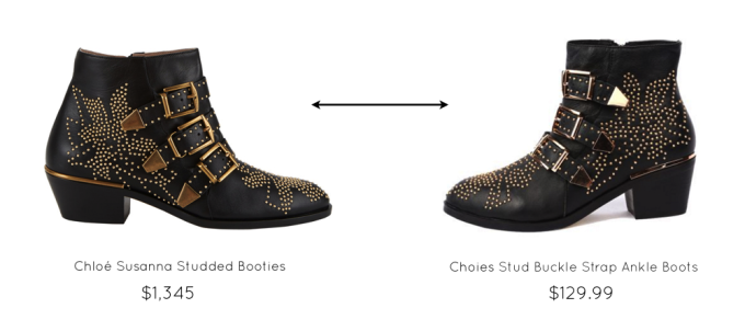 Chloé Susanna Studded Booties versus Look-a-Like Choies Gold Riveted Booties