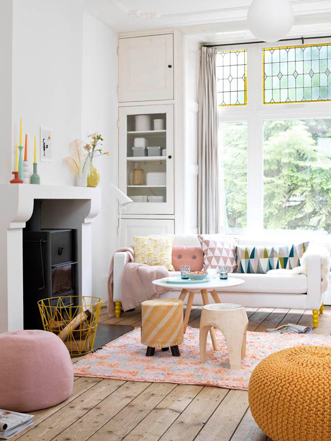 How to Add Pink to Your Home And Still Keep Your Guy Happy: Colorful Geometric Living Room