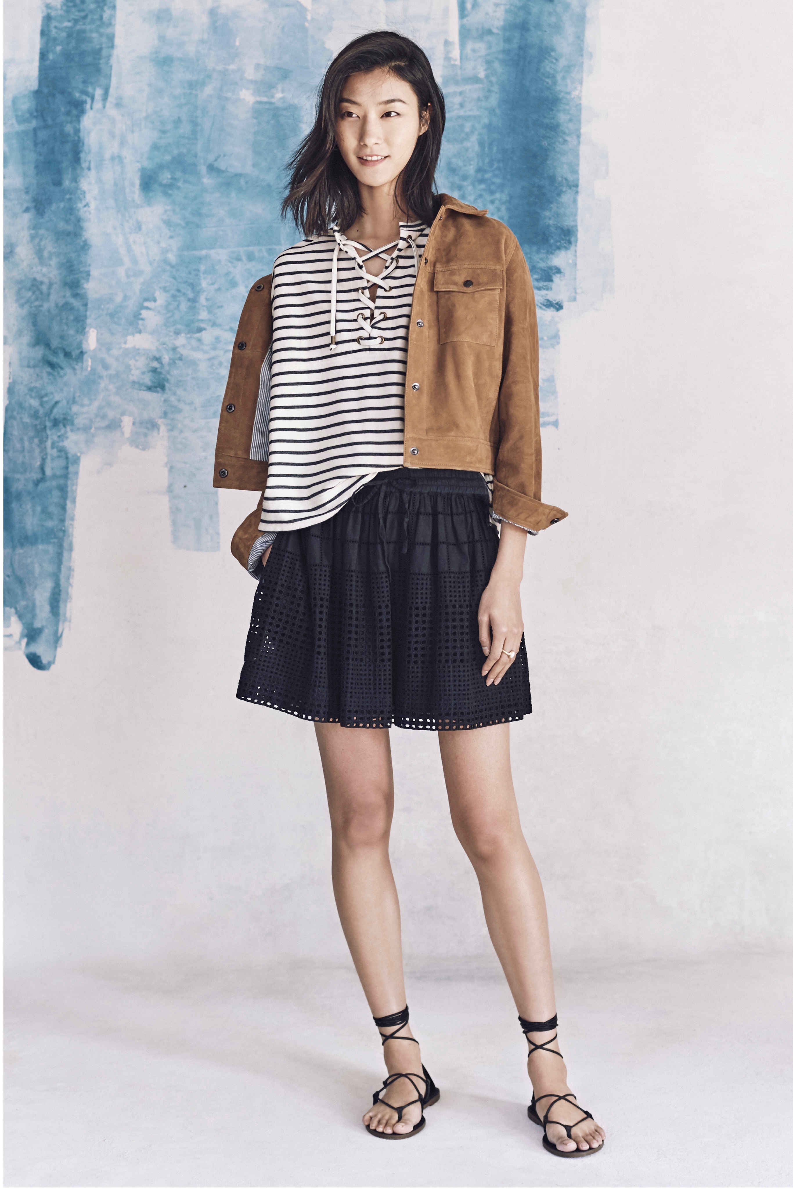 Madewell just released their spring 2016 collection, and trust me, you are going to be clamoring for every single piece. It's just so wearable. - Madewell Spring 2016 Lookbook - Black and White Stripes and Skirt