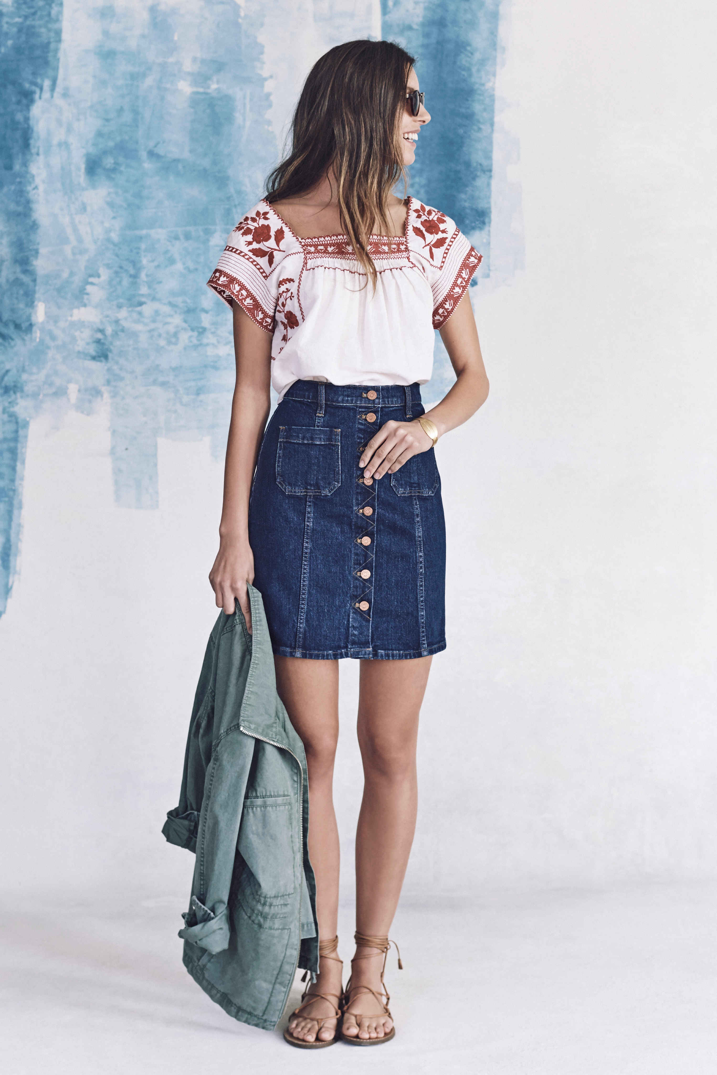 Madewell just released their spring 2016 collection, and trust me, you are going to be clamoring for every single piece. It's just so wearable. - Madewell Spring 2016 Lookbook - Denim Skirt and Prairie Blouse