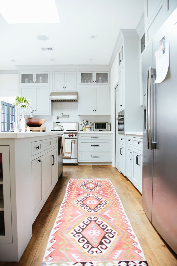 How to Add Pink to Your Home And Still Keep Your Guy Happy: Shades of Pink Kilim Rug Runner in a Modern Kitchen