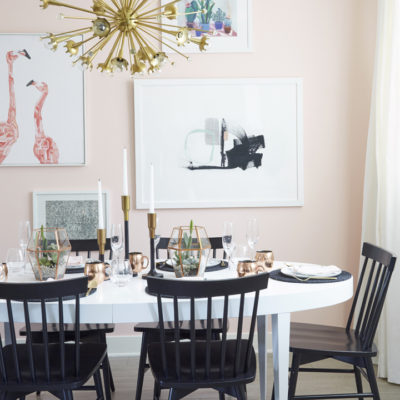 Soft Pink Wall (and flamingos) in the Dining Room