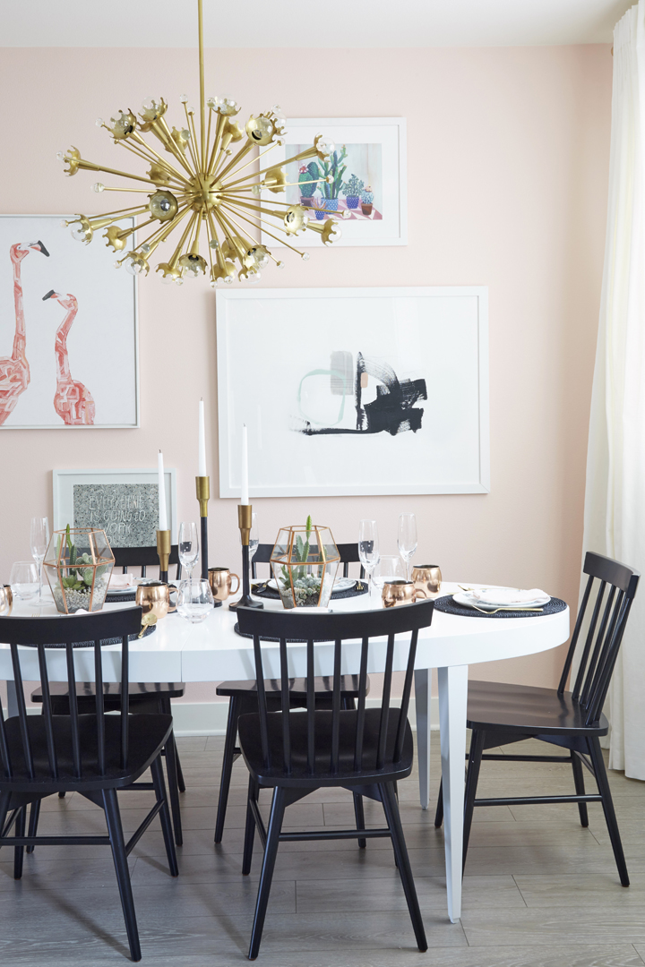 How to Add Pink to Your Home And Still Keep Your Guy Happy: Soft Pink Wall (and flamingos) in the Dining Room