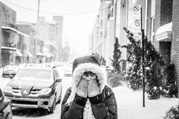 On Being Camera-Shy (and an Adorable Way to Remedy It) - camera shy girlfriend - snow gloves - mikael theimer