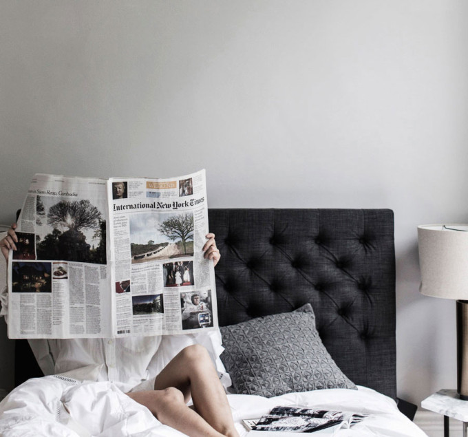 international new york times - newspaper in bed - weekend reading