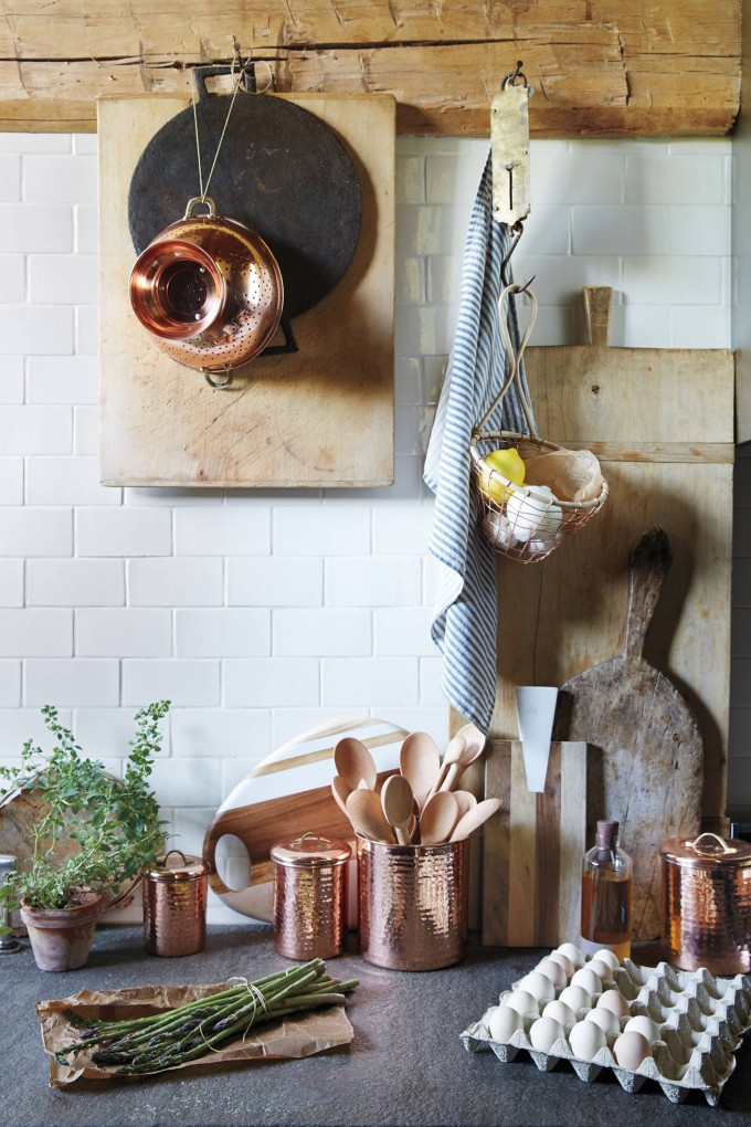How to Style Copper in the Kitchen: Anthropologie Copper Kitchen Canisters and Colander