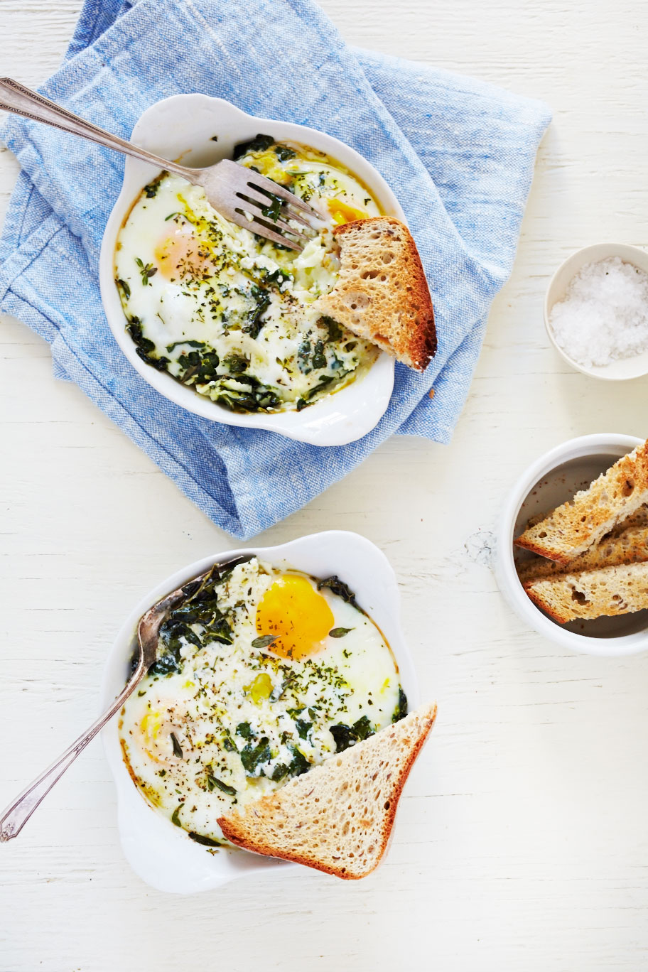 20 Favorite Egg Recipes / Ways to Eat Eggs (for Breakfast, Lunch and Dinner) - Baked Egg with Ricotta, Thyme & Chervil