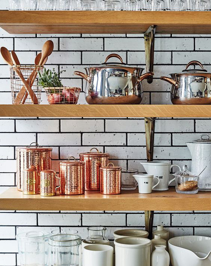 How to Style Copper in the Kitchen: Copper Canisters in Open Kitchen Shelves