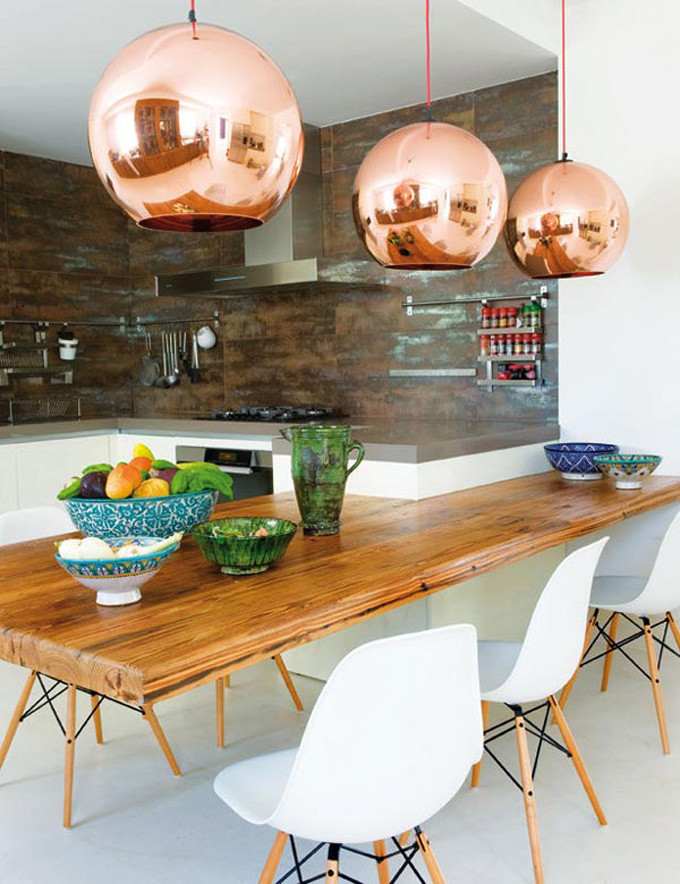 How to Style Copper in the Kitchen: Copper Globe Lights in a Kitchen/Dining Room