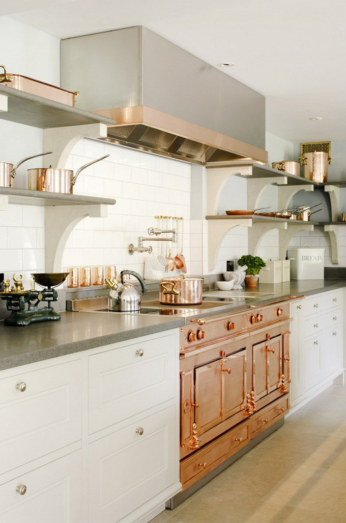How to Style Copper in the Kitchen: Copper Kitchen - Range Oven Stove Top