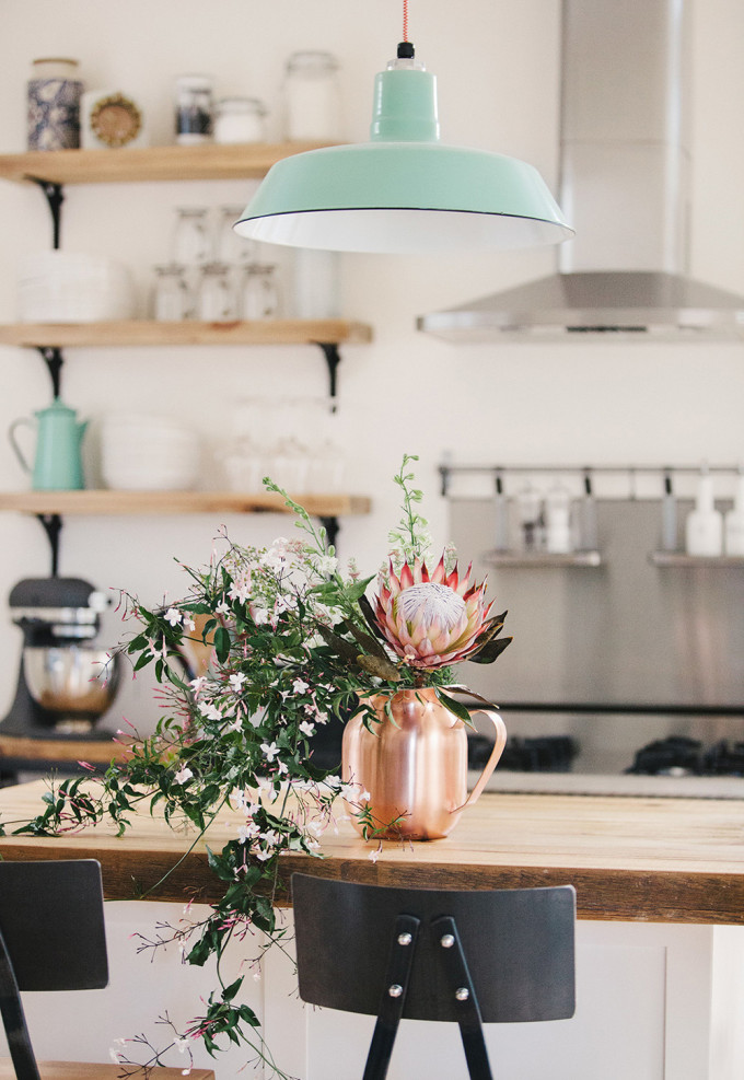 How to Style Copper in the Kitchen: Copper Pitcher of Flowers in the Kitchen