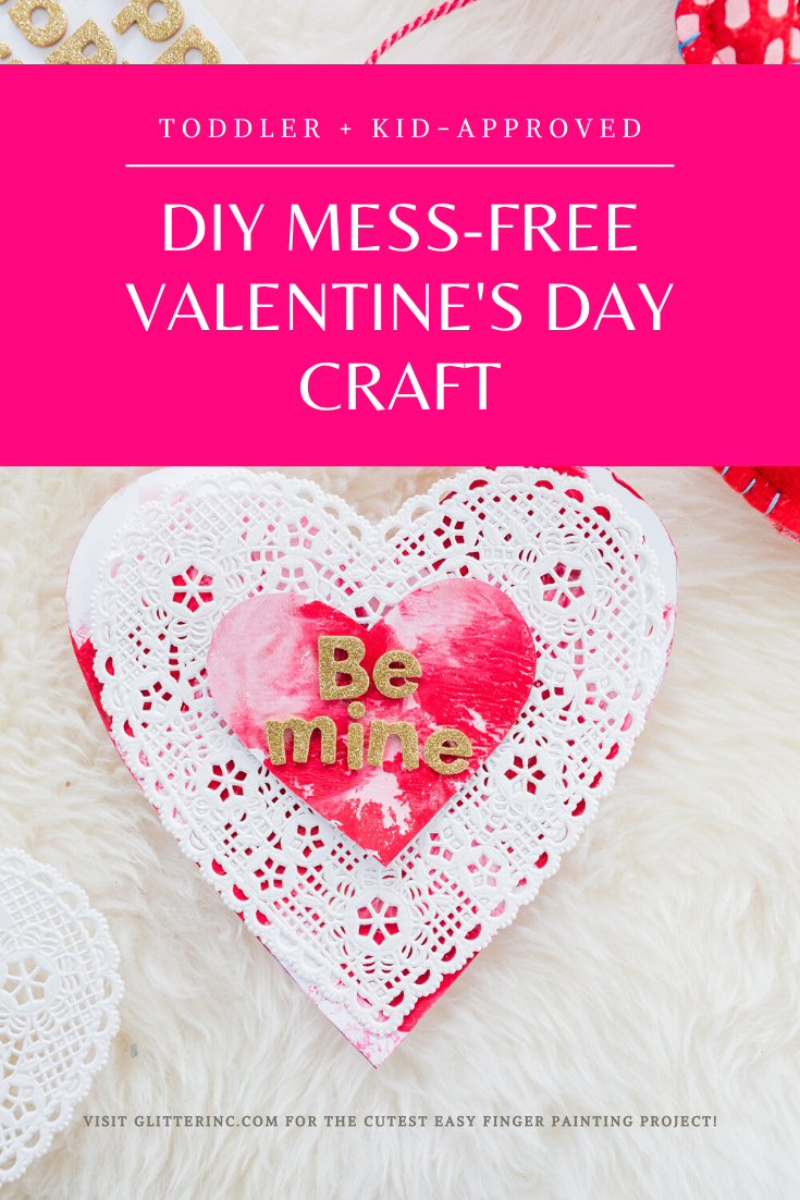 Say hello to the cutest mess-free craft! Make these easy, adorable, and memorable DIY Painted Valentine's Day Cards with your toddlers and little kids this February for the sweetest valentine!  | glitterinc.com | @glitterinc
