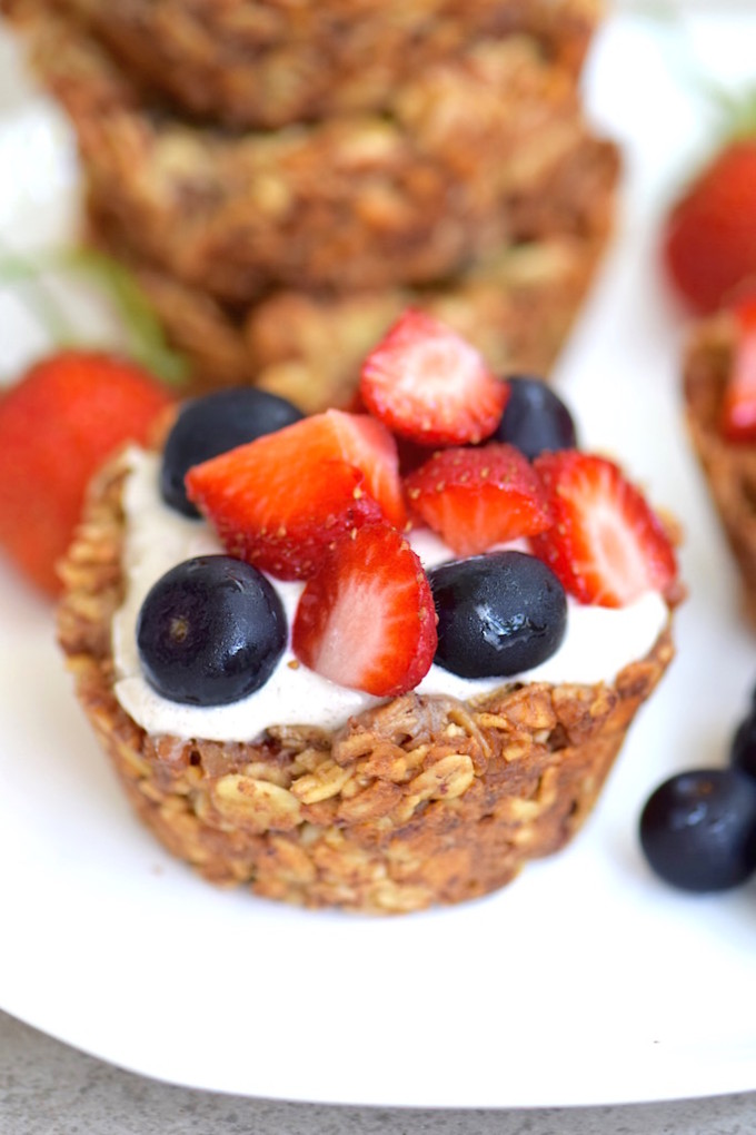 21 Favorite Brunch Recipes (Perfect for Easter!): Gluten-Free Granola Cups with Yogurt (Sub banana cream to keep this vegan!)