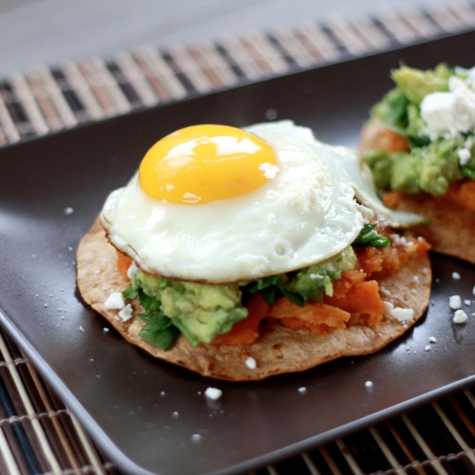 20 Favorite Egg Recipes / Ways to Eat Eggs (for Breakfast, Lunch and Dinner) - Guacamole Tostadas with Mashed Sweet Potatoes and Fried Eggs