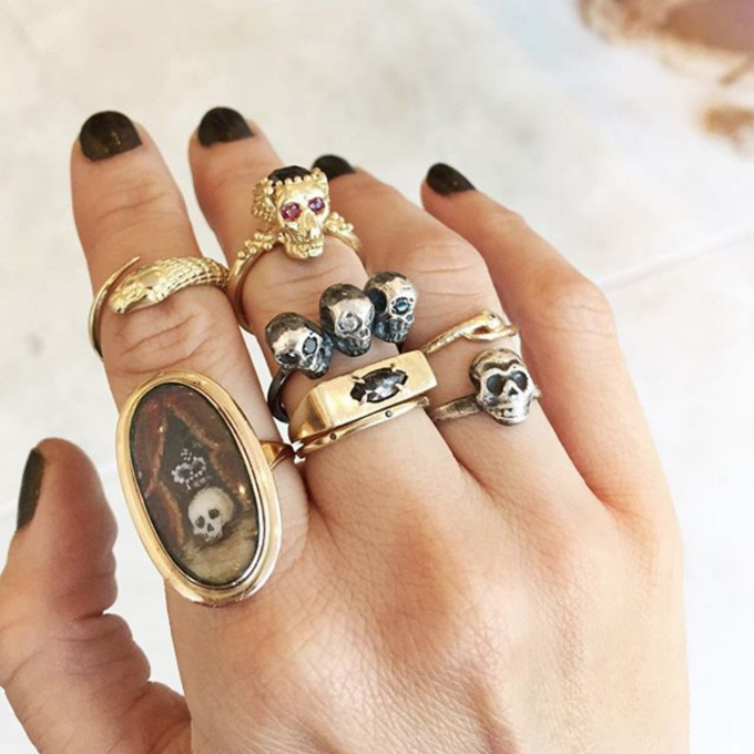 Cool Spotting: Layering Stacks of Chunky Rings - Lauren Wolf Rings - Skulls