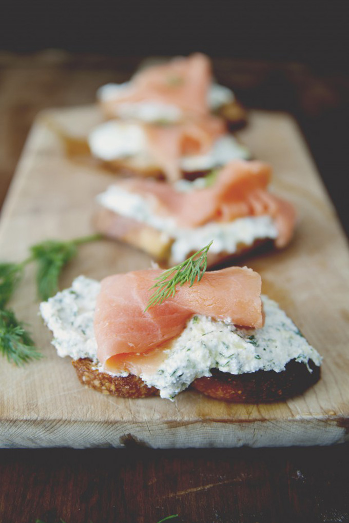 21 Favorite Brunch Recipes (Perfect for Easter!): Lemon Herb Ricotta Salmon Crostini