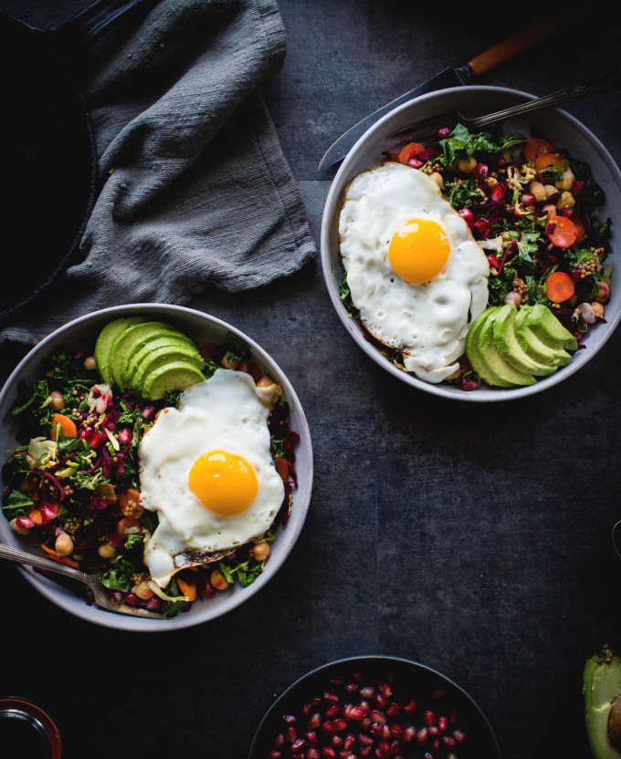20 Favorite Egg Recipes / Ways to Eat Eggs (for Breakfast, Lunch and Dinner) - Miso Veggie Bowl Topped with a Fried Egg