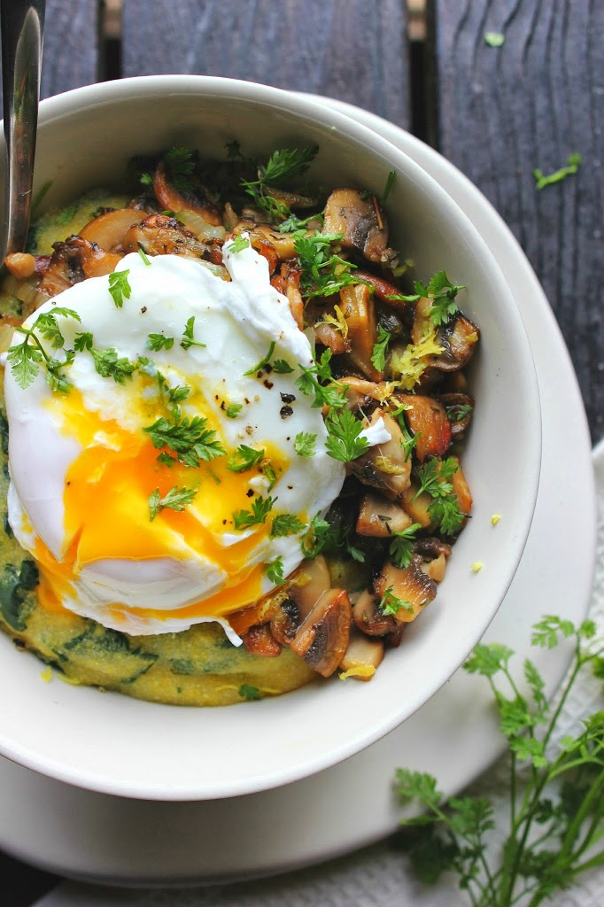 20 Favorite Egg Recipes / Ways to Eat Eggs (for Breakfast, Lunch and Dinner) - Poached Egg over Spinach Polenta with Crispy Mushrooms & Herbs