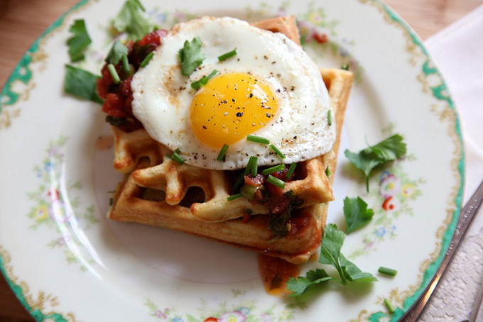 20 Favorite Egg Recipes / Ways to Eat Eggs (for Breakfast, Lunch and Dinner) - Savory Cornmeal and Chive Waffles with Salsa and Fried Eggs