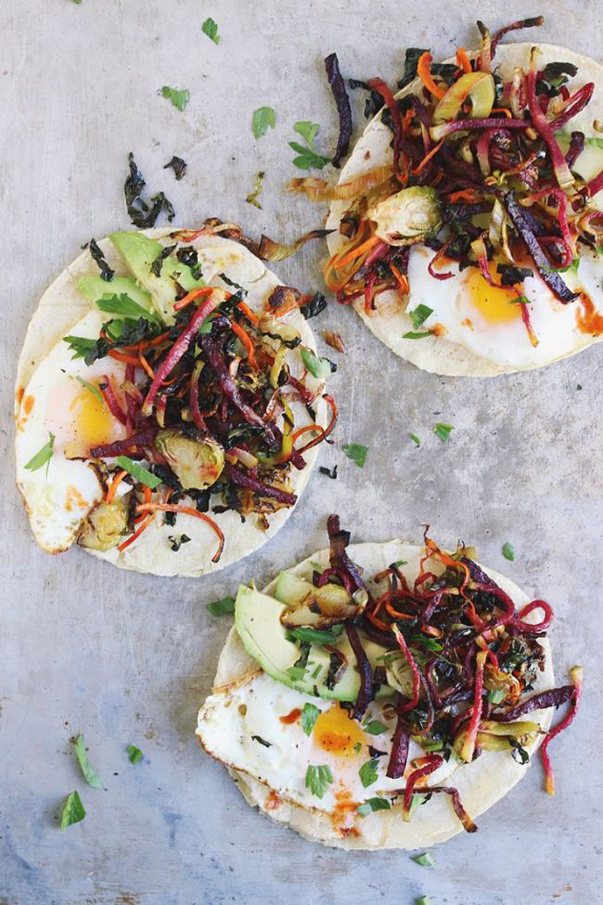 20 Favorite Egg Recipes / Ways to Eat Eggs (for Breakfast, Lunch and Dinner) - Shredded Harvest Hash Breakfast Tacos