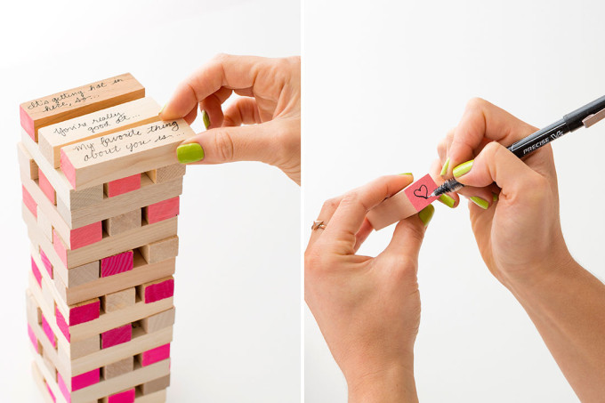 12 Inexpensive Valentine's Day Date Night Ideas (From the Comfort of Your Sofa): DIY Date Night Jenga