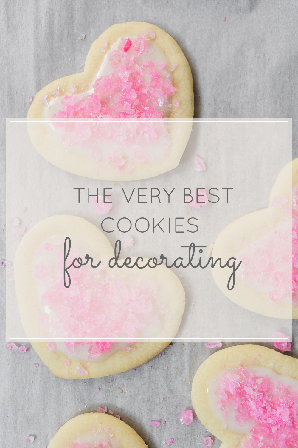 The Best Sugar Cookies for Decorating (These adorable cookies are covered in pink rock candy and are perfect for Valentine's Day!)