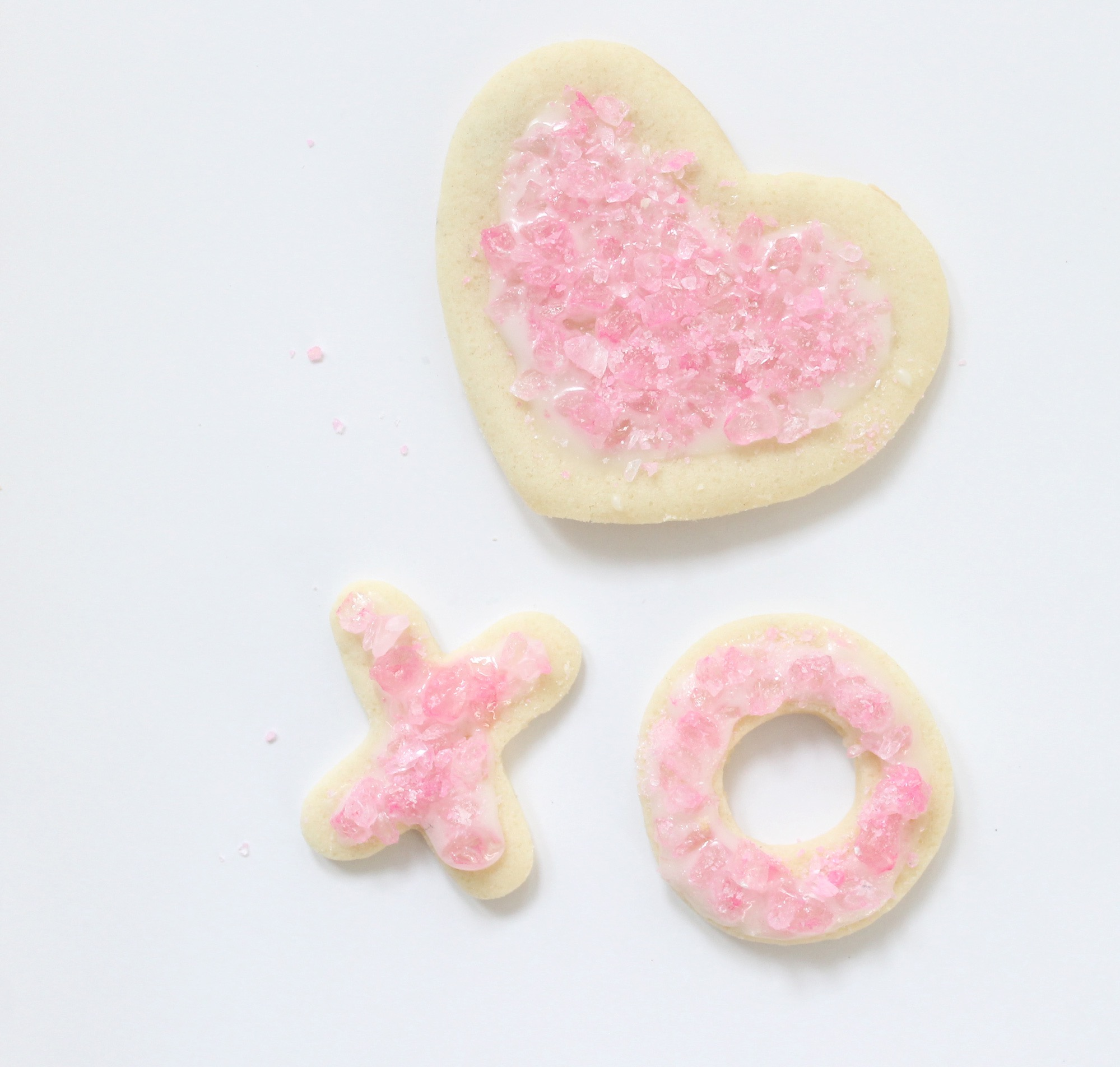 The Best Sugar Cookies for Decorating - Valentine's Day - Pink Rock Candy on Hearts and X's and O's