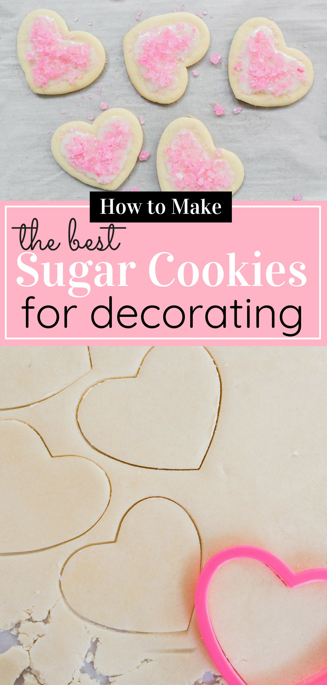 The Best Sugar Cookies for Decorating; i.e., they hold up to decorations like frosting and sprinkles (Psst ... these adorable cookies are covered in pink rock candy!) and taste great! Click through for the recipe. #sugarcookies #sugarcookiesfordecorating #decoratingcookies #decoratedsugarcookies | glitterinc.com | @glitterinc