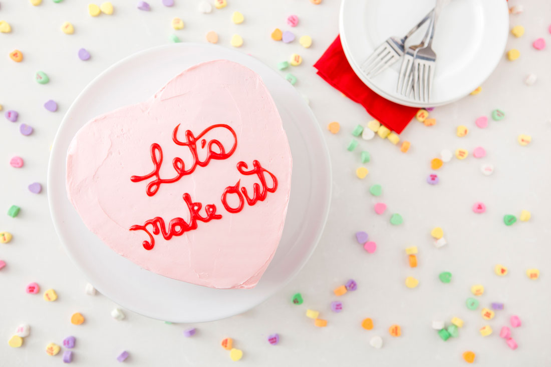 12 Inexpensive Valentine's Day Date Night Ideas (From the Comfort of Your Sofa): Let's Make Out Cake