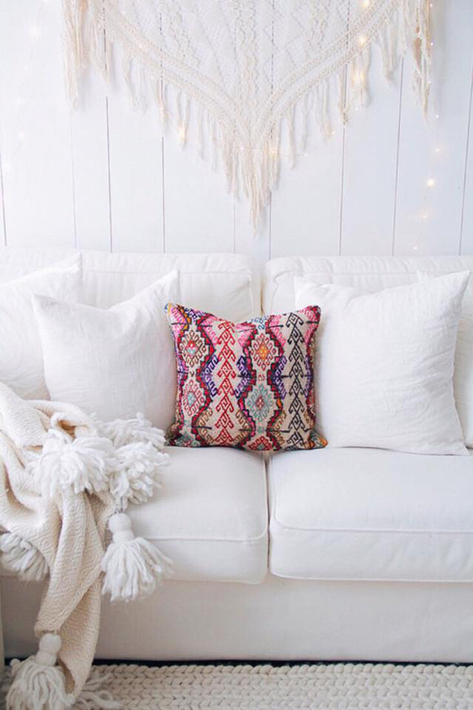 Vintage Kilim Red Pillow - White Sofa