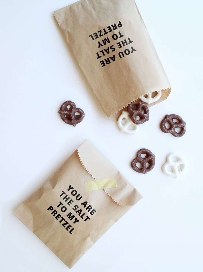 "12 Inexpensive Valentine's Day Date Night Ideas (From the Comfort of Your Sofa): ""You are the salt to my pretzel"" Valentine's Day Treat Bags"