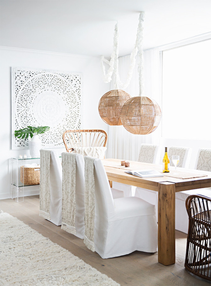 A mostly white Morocco-inspired home (you're going to love!) and how to get the look. - dining toom