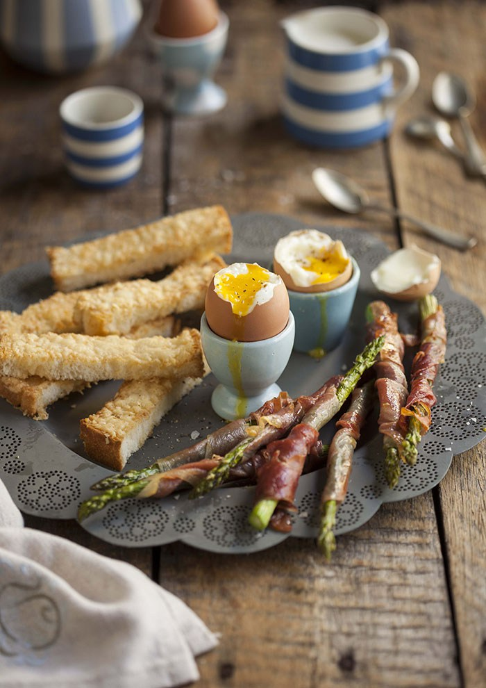 20 Favorite Egg Recipes / Ways to Eat Eggs (for Breakfast, Lunch and Dinner) - Boiled Eggs with Asparagus, pancetta and Parmesan Bread Fingers