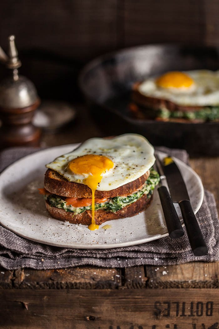 20 Favorite Egg Recipes / Ways to Eat Eggs (for Breakfast, Lunch and Dinner) - Croque Madame with Spinach and Smoked Salmon