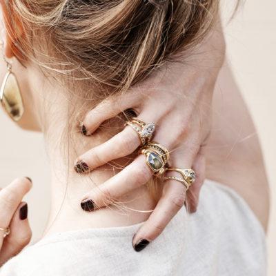 Stacks of Gold Rings: Lauren Wolf Rings