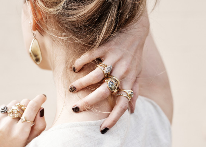 Stacks of Gold Rings: Lauren Wolf Rings